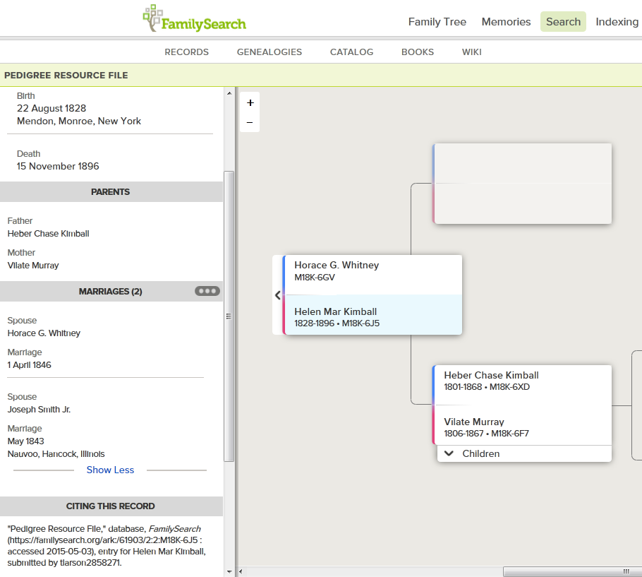 FamilySearch showing Helen's marriage to Joseph