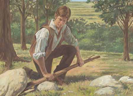 Joseph Smith prying a rock covering off the stone box.